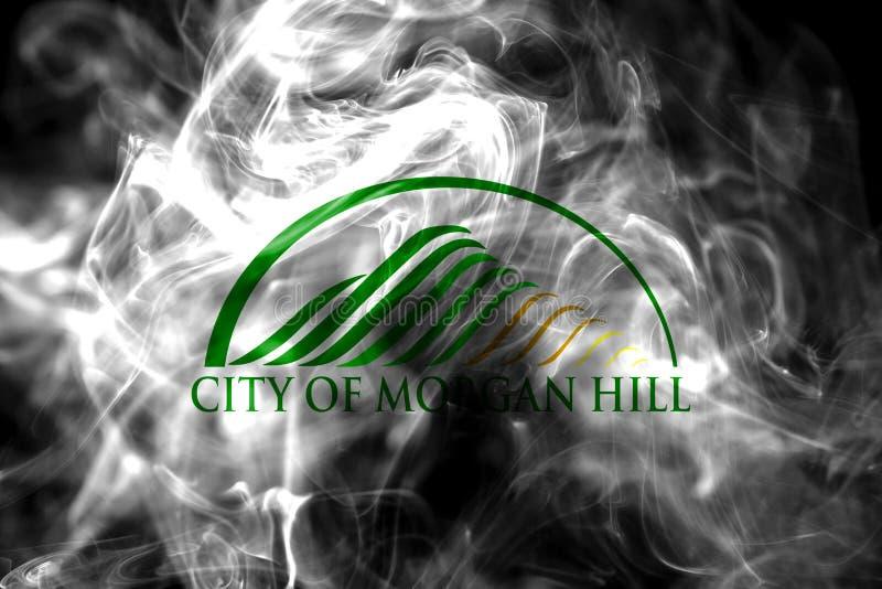 Drapeau de fumée de ville de Morgan Hill, état de la Californie, Etats-Unis de photo libre de droits