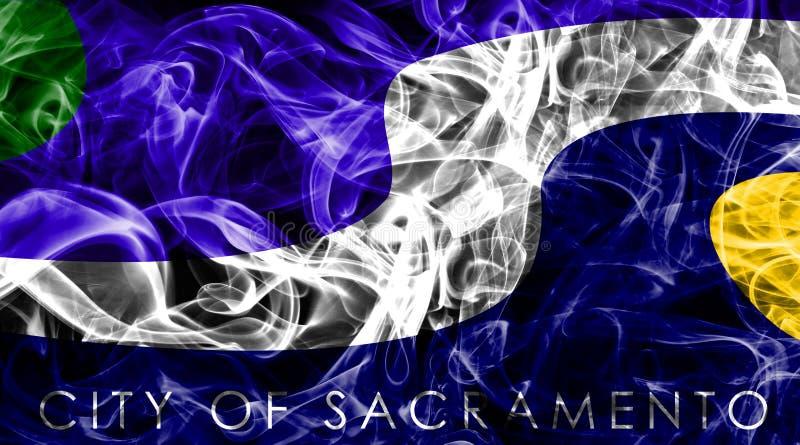 Drapeau de fumée de ville de Sacramento, état de la Californie, Etats-Unis d'A photo libre de droits