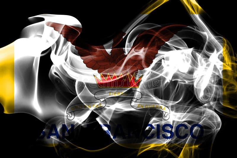 Drapeau de fumée de ville de San Francisco, état de la Californie, Etats-Unis O photographie stock libre de droits