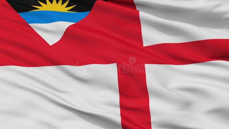 Drapeau de garde-côte de vue de plan rapproché de drapeau de l'Antigua-et-Barbuda illustration libre de droits