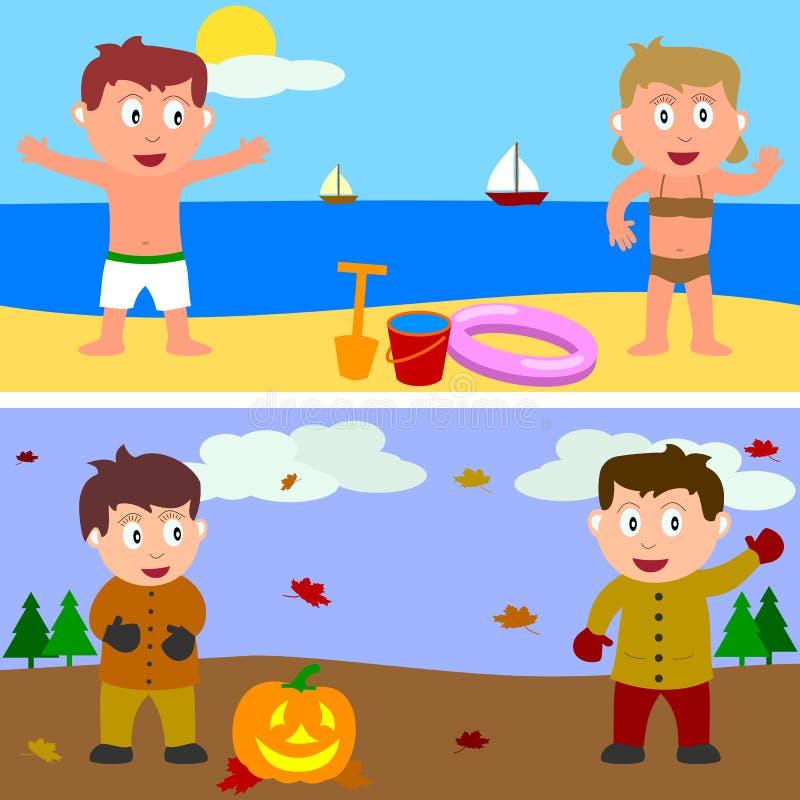 Drapeau de gosses d'été et d'automne illustration stock