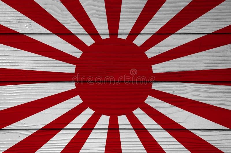 Drapeau de guerre de la couleur impériale d'armée japonaise peinte sur le fond de mur de feuille de ciment de fibre illustration libre de droits