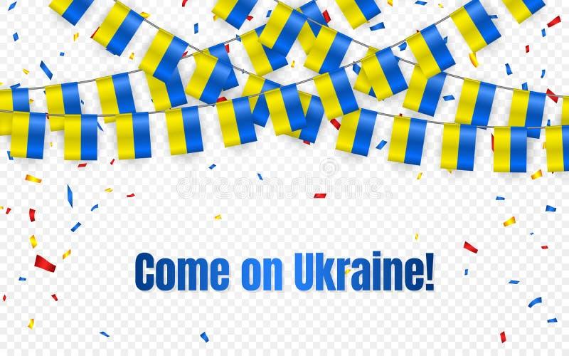 Drapeau de guirlande de l'Ukraine avec des confettis sur le fond transparent, étamine de coup pour la bannière de calibre de célé illustration libre de droits