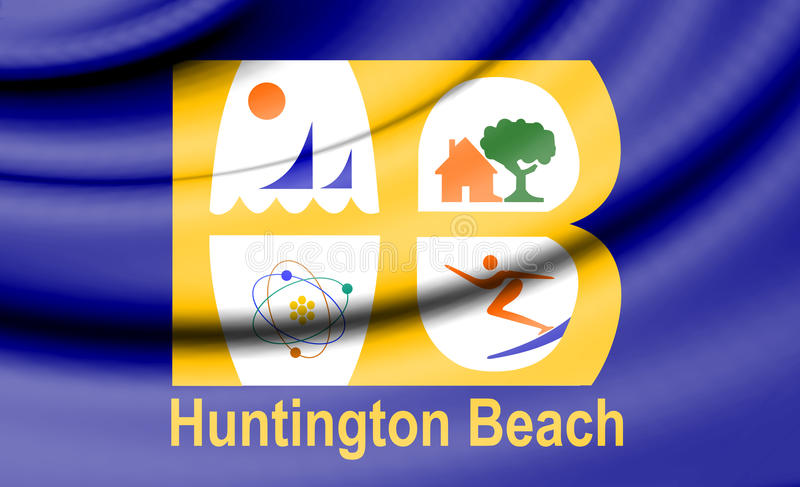 Drapeau de Huntington Beach, la Californie LES Etats-Unis illustration libre de droits