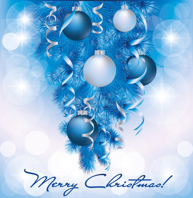Drapeau de Joyeux Noël avec les billes argentées bleues illustration stock