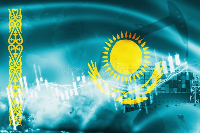 Drapeau de Kazakhstan, marché boursier, économie d'échange et commerce, production de pétrole, navire porte-conteneurs dans des a illustration libre de droits