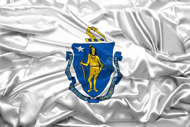 Drapeau de l'?tat du Massachusetts des Etats-Unis d'Am?rique sur la texture en soie douce et douce illustration stock