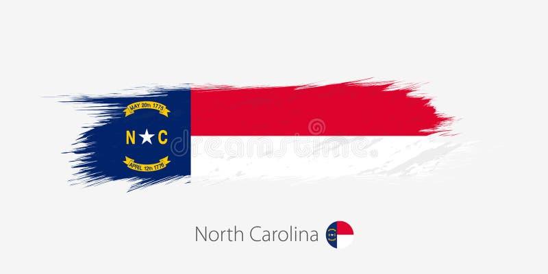 Drapeau de l'état de la Caroline du Nord USA, course abstraite grunge de brosse sur le fond gris illustration de vecteur
