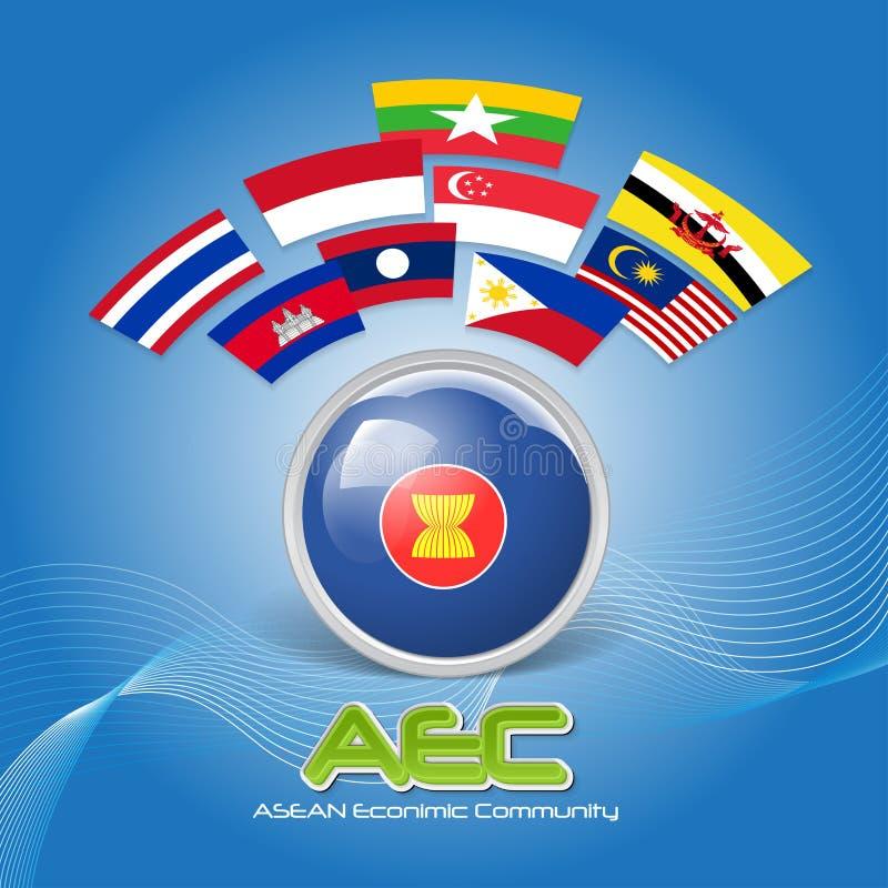 Drapeau de l'AEC 03 de la communauté économique d'ASEAN illustration stock
