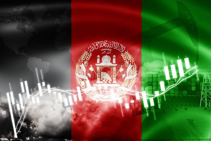 Drapeau de l'Afghanistan, marché boursier, économie d'échange et commerce, production de pétrole, navire porte-conteneurs dans de illustration de vecteur