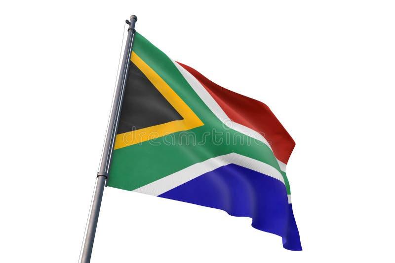 Drapeau de l'Afrique du Sud ondulant l'illustration blanche d'isolement du fond 3D illustration de vecteur