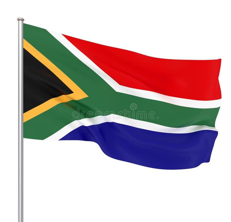 Drapeau de l'Afrique du Sud soufflant dans le vent Texture de fond rendu 3d ; drapeau de ondulation illustration d'†« illustration de vecteur