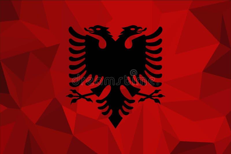 Drapeau de l'Albanie sur un fond texturisé de tissu Illustration de vecteur illustration libre de droits