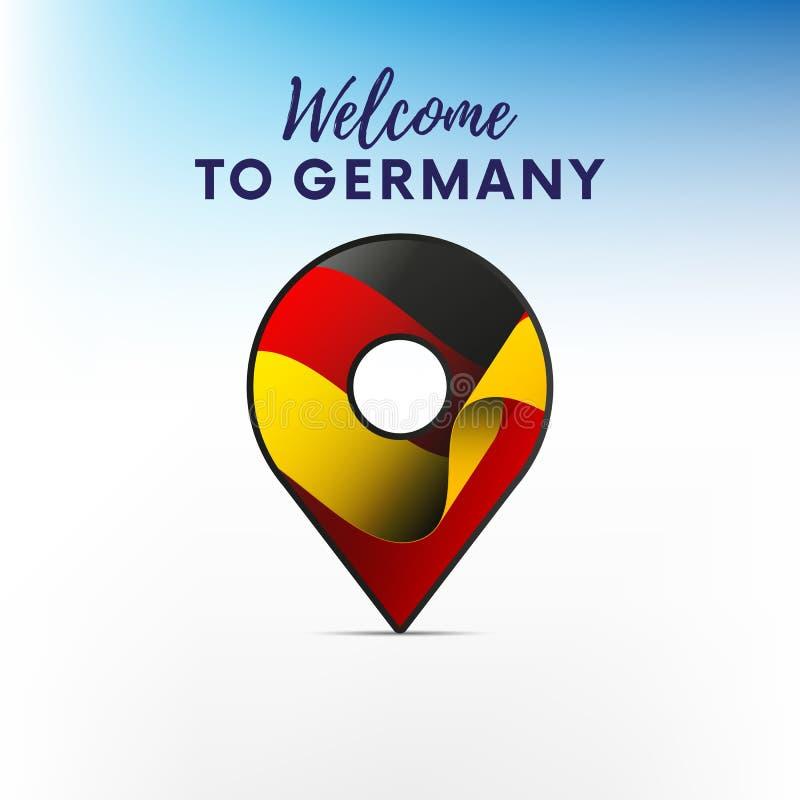 Drapeau de l'Allemagne dans la forme de l'indicateur de carte Accueil vers l'Allemagne Illustration de vecteur illustration libre de droits