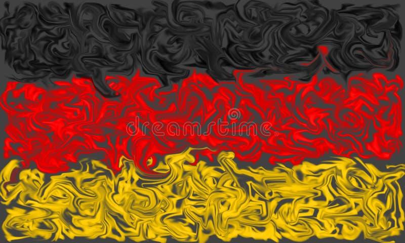 Drapeau de l'Allemagne - noire, rouge et jaune a enduit des couleurs brûlantes illustration stock