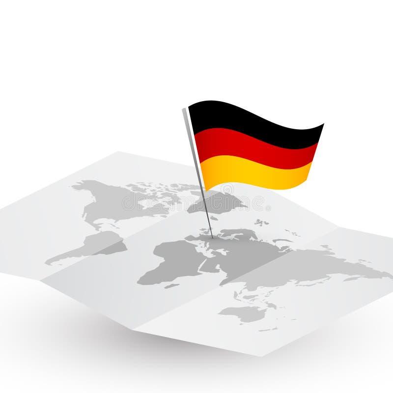 Drapeau de l'Allemagne sur la carte abstraite du monde illustration stock