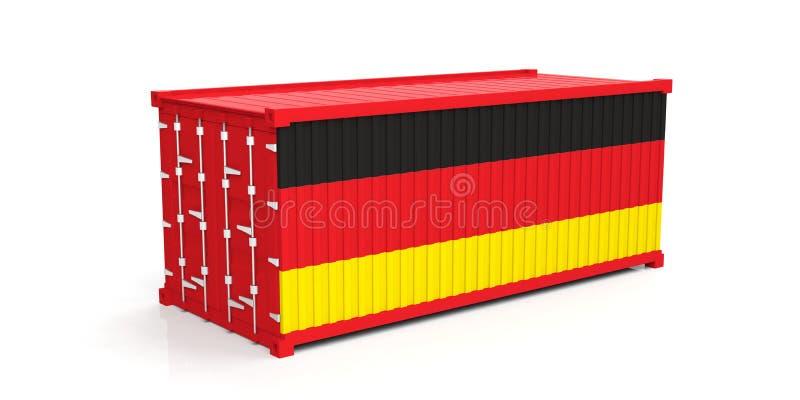 Drapeau de l'Allemagne sur le récipient illustration 3D illustration de vecteur