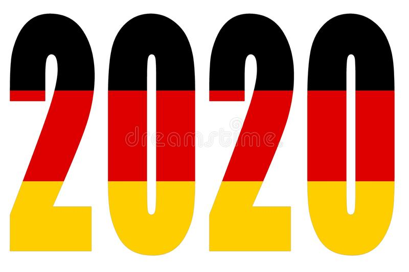 Drapeau de l'Allemagne sur 2020 lettres isolées illustration stock