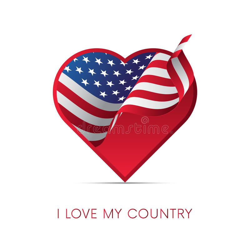 Drapeau de l'Amérique au coeur Aimez mon pays signe Illustration de vecteur illustration stock