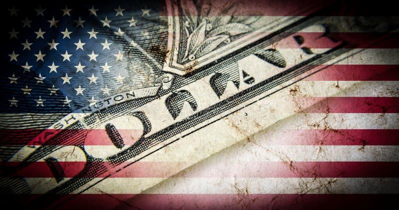 Drapeau de l'Amérique avec la vieille texture grunge et cent plans rapprochés de billet d'un dollar illustration stock