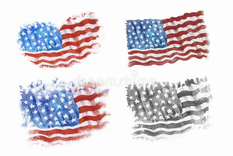 Drapeau de l'Amérique, tiré par la main, peinture d'aquarelle illustration de vecteur