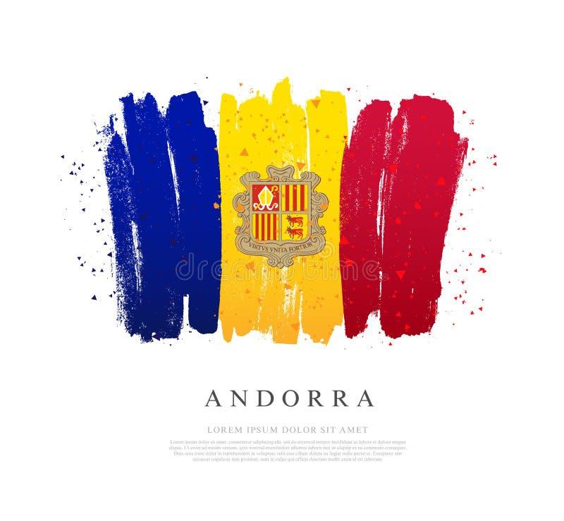 Drapeau de l'Andorre Des courses de brosse sont dessinées à la main illustration libre de droits
