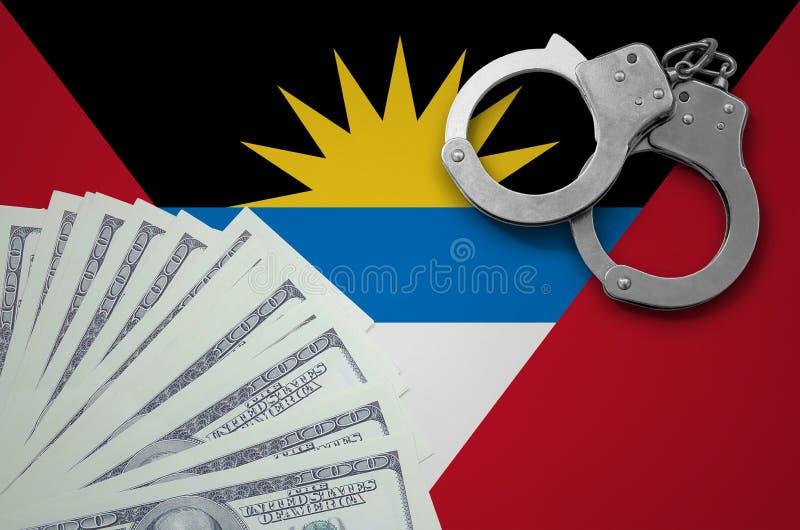 Drapeau de l'Antigua-et-Barbuda avec des menottes et un paquet de dollars Le concept des opérations bancaires illégales dans la d illustration de vecteur