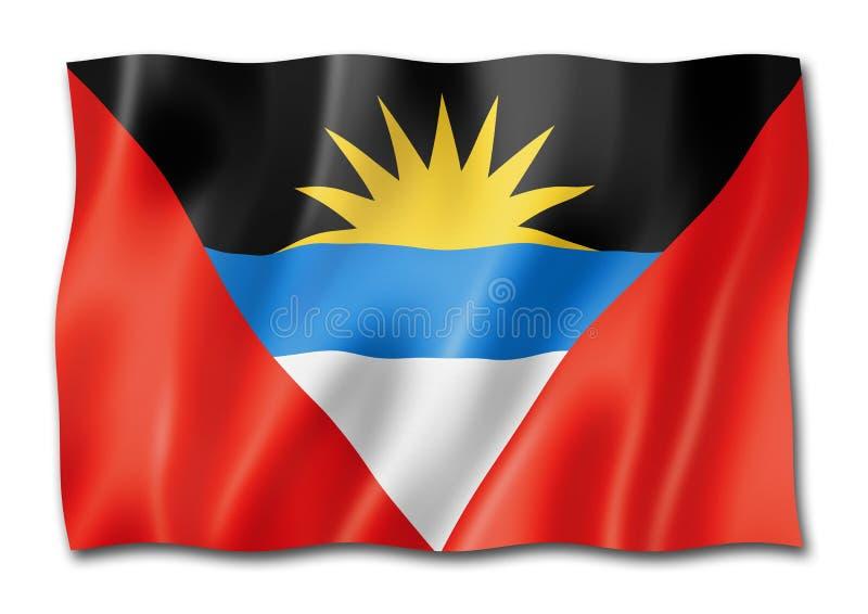 Drapeau de l'Antigua-et-Barbuda d'isolement sur le blanc illustration libre de droits