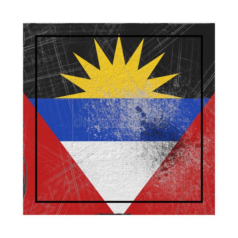 Drapeau de l'Antigua-et-Barbuda dans la place concrète illustration libre de droits