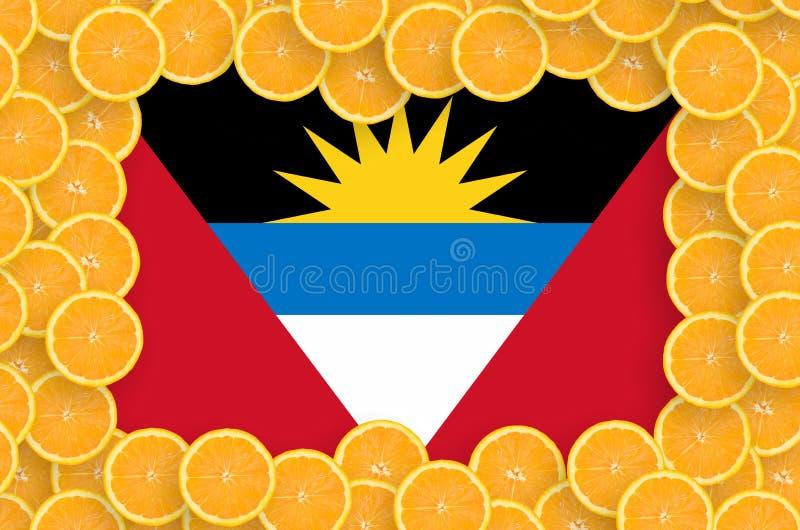 Drapeau de l'Antigua-et-Barbuda dans le cadre frais de tranches d'agrumes illustration libre de droits