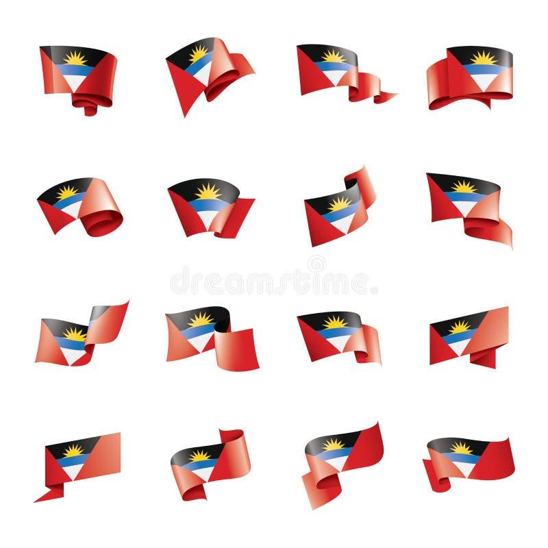 Drapeau de l'Antigua-et-Barbuda, illustration de vecteur sur un fond blanc illustration de vecteur