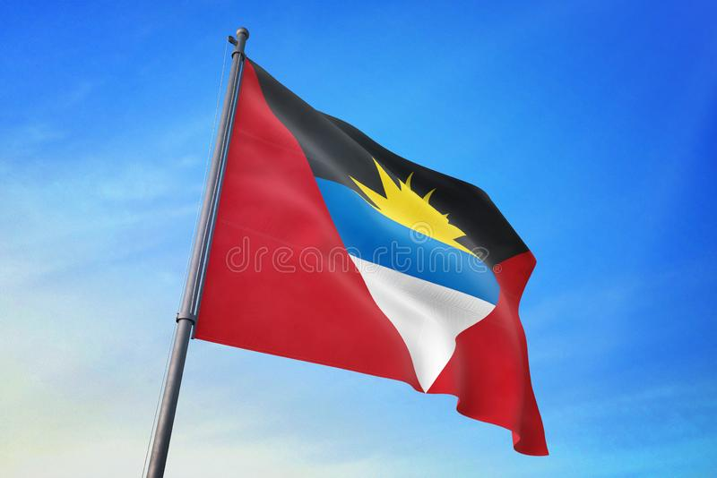 Drapeau de l'Antigua-et-Barbuda ondulant sur l'illustration du ciel bleu 3D illustration stock