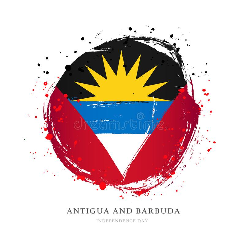 Drapeau de l'Antigua-et-Barbuda sous forme de grand cercle illustration de vecteur