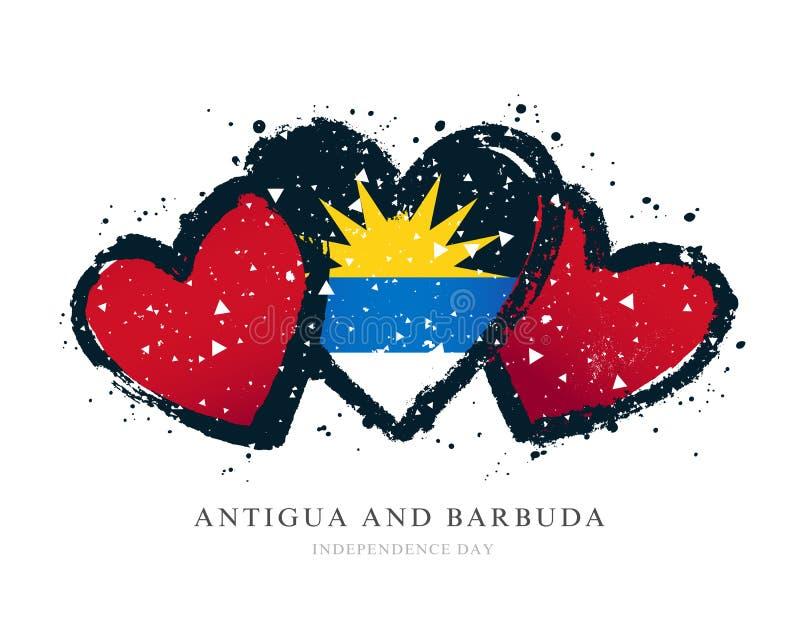 Drapeau de l'Antigua-et-Barbuda sous forme de trois coeurs illustration de vecteur