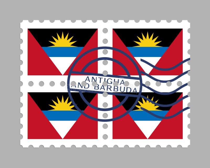 Drapeau de l'Antigua-et-Barbuda sur le timbre-poste illustration de vecteur