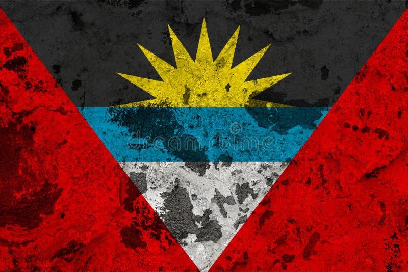 Drapeau de l'Antigua-et-Barbuda sur le vieux mur illustration stock