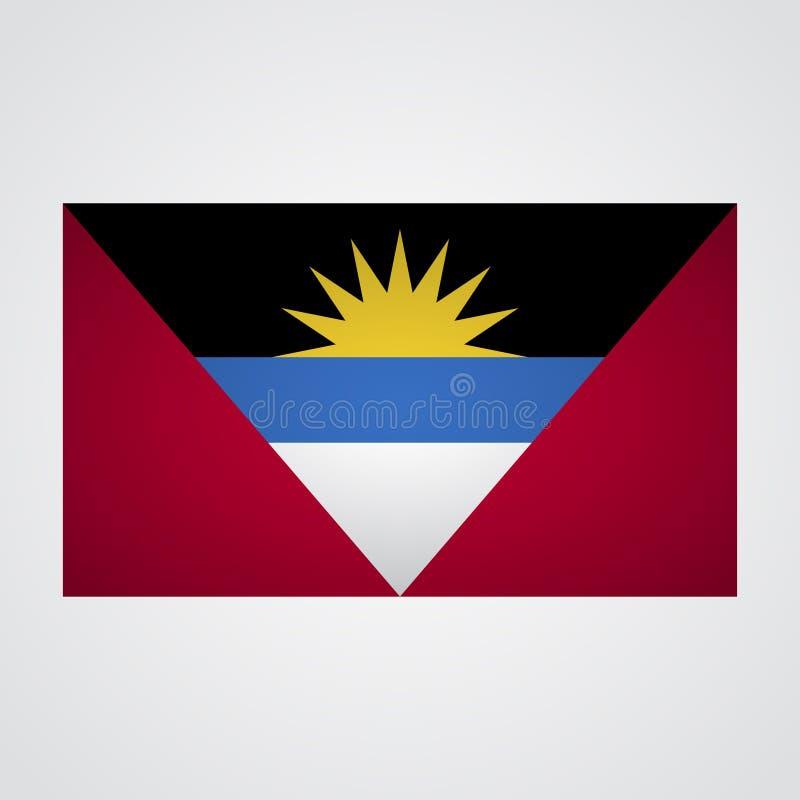 Drapeau de l'Antigua-et-Barbuda sur un fond gris Illustration de vecteur illustration libre de droits