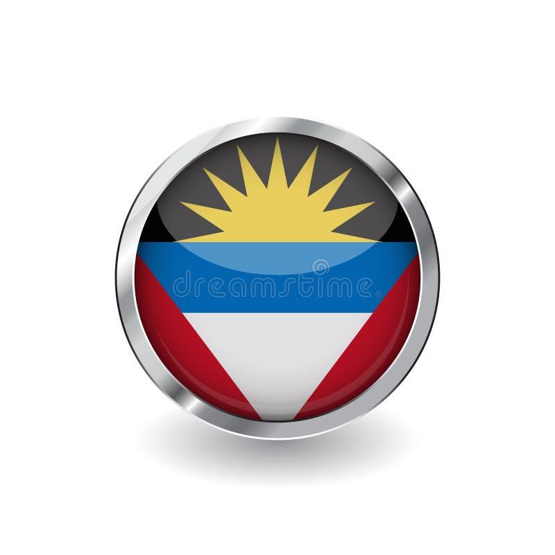 Drapeau de l'Antigua et du Barbuda, bouton avec le cadre en métal et l'ombre l'Antigua et le Barbuda marquent l'icône de vecteur, illustration de vecteur