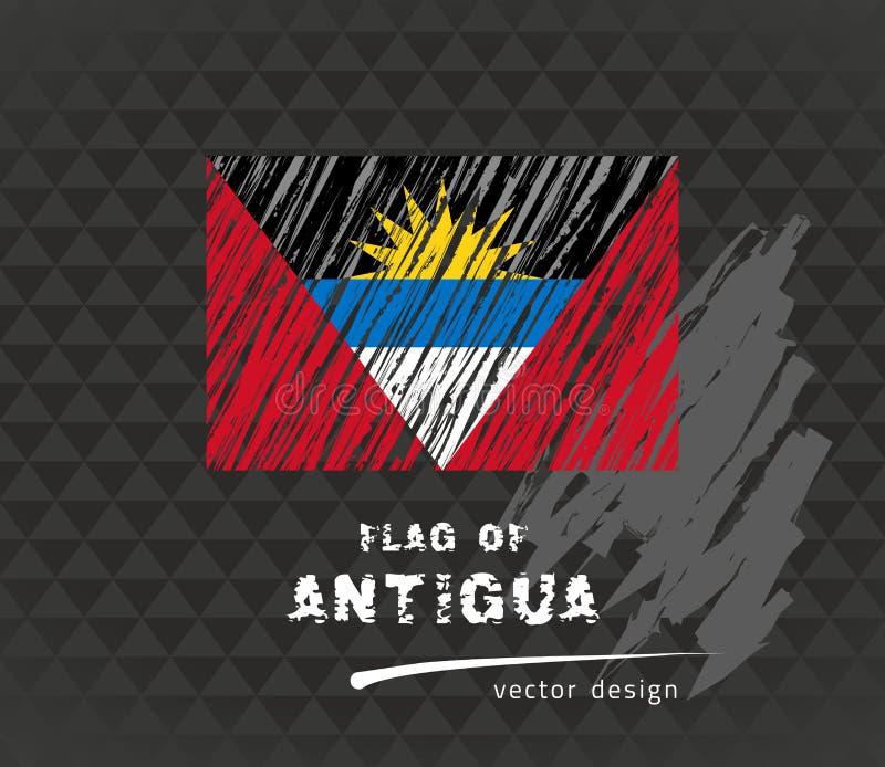 Drapeau de l'Antigua, illustration de stylo de vecteur sur le fond noir illustration stock