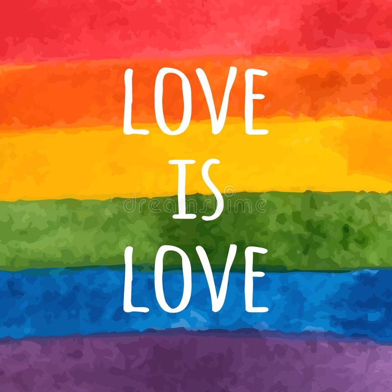 Drapeau de l'aquarelle LGBT Arc-en-ciel peint à la main Carte de jour de tolérance L'amour est amour - slogan de fierté Illustrat illustration libre de droits
