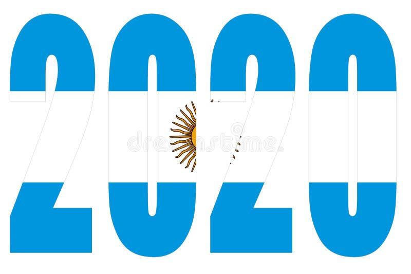 Drapeau de l'Argentine sur 2020 lettres avec fond illustration libre de droits