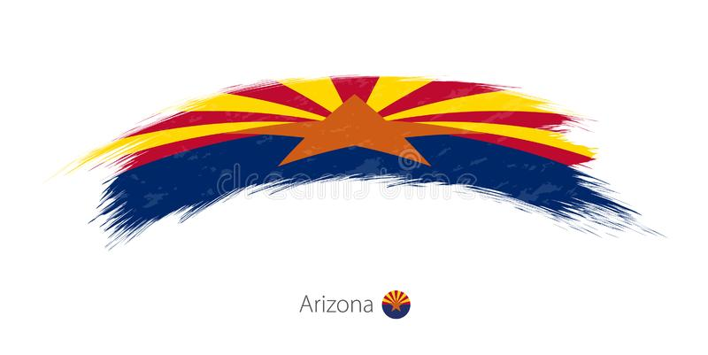 Drapeau de l'Arizona dans la course grunge arrondie de brosse illustration de vecteur