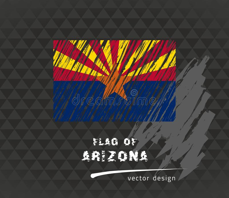 Drapeau de l'Arizona, illustration de stylo de vecteur sur le fond noir illustration stock