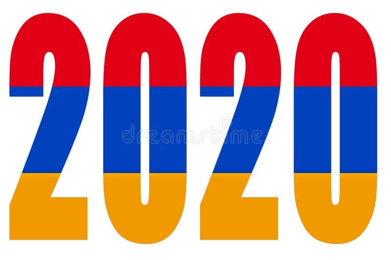 Drapeau de l'Arménie sur 2020 lettres isolées illustration libre de droits