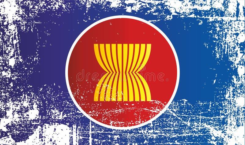 Drapeau de l'association des nations asiatiques du sud-est Taches sales froissées illustration stock