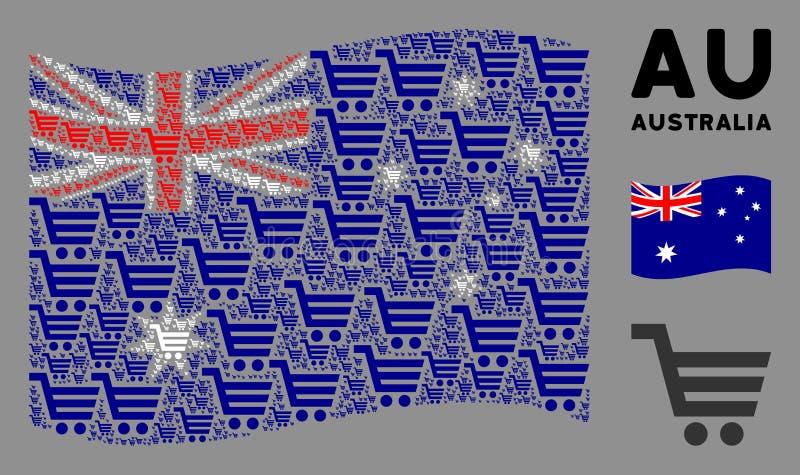Drapeau de l'Australie en gestation Icônes de panier illustration de vecteur