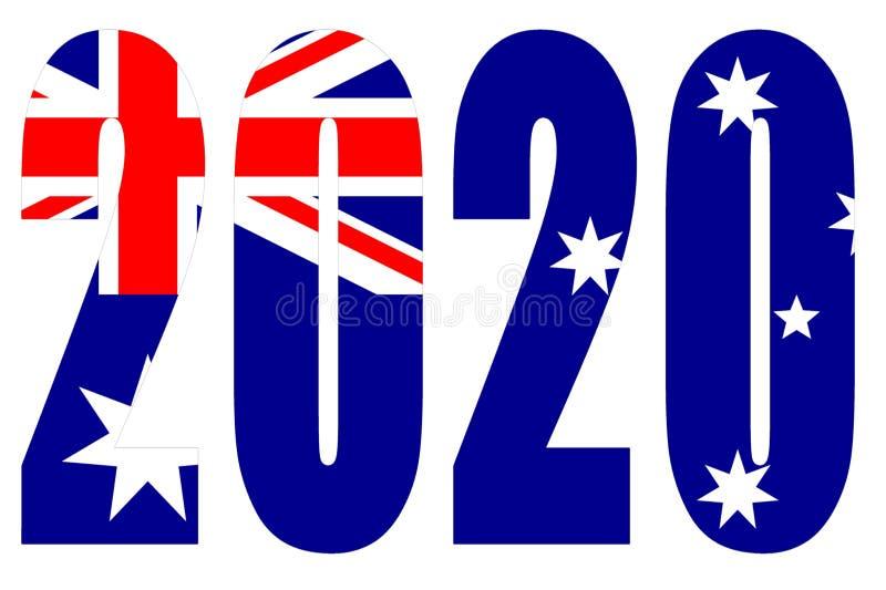 Drapeau de l'Australie sur 2020 lettres isolées illustration libre de droits