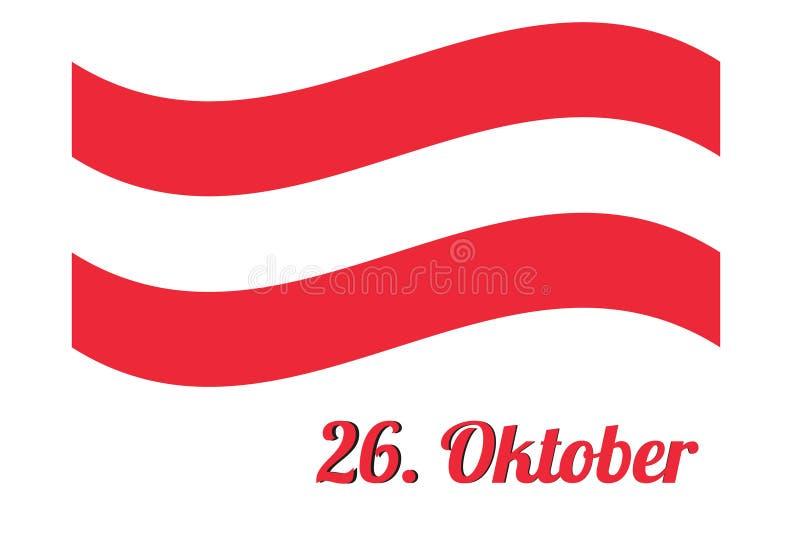 Drapeau de l'Autriche avec la date illustration stock