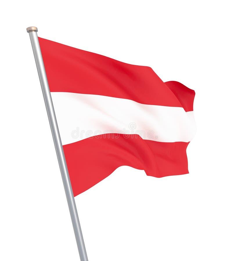 Drapeau de l'Autriche soufflant dans le vent D'isolement sur le blanc Texture de fond Vienne, Autriche 3d rendu, vague Tir? par l illustration libre de droits