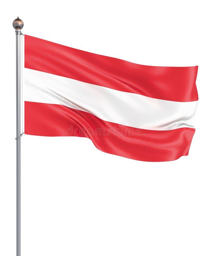 Drapeau de l'Autriche soufflant dans le vent D'isolement sur le blanc Texture de fond Vienne, Autriche 3d rendu, vague Tir? par l illustration de vecteur
